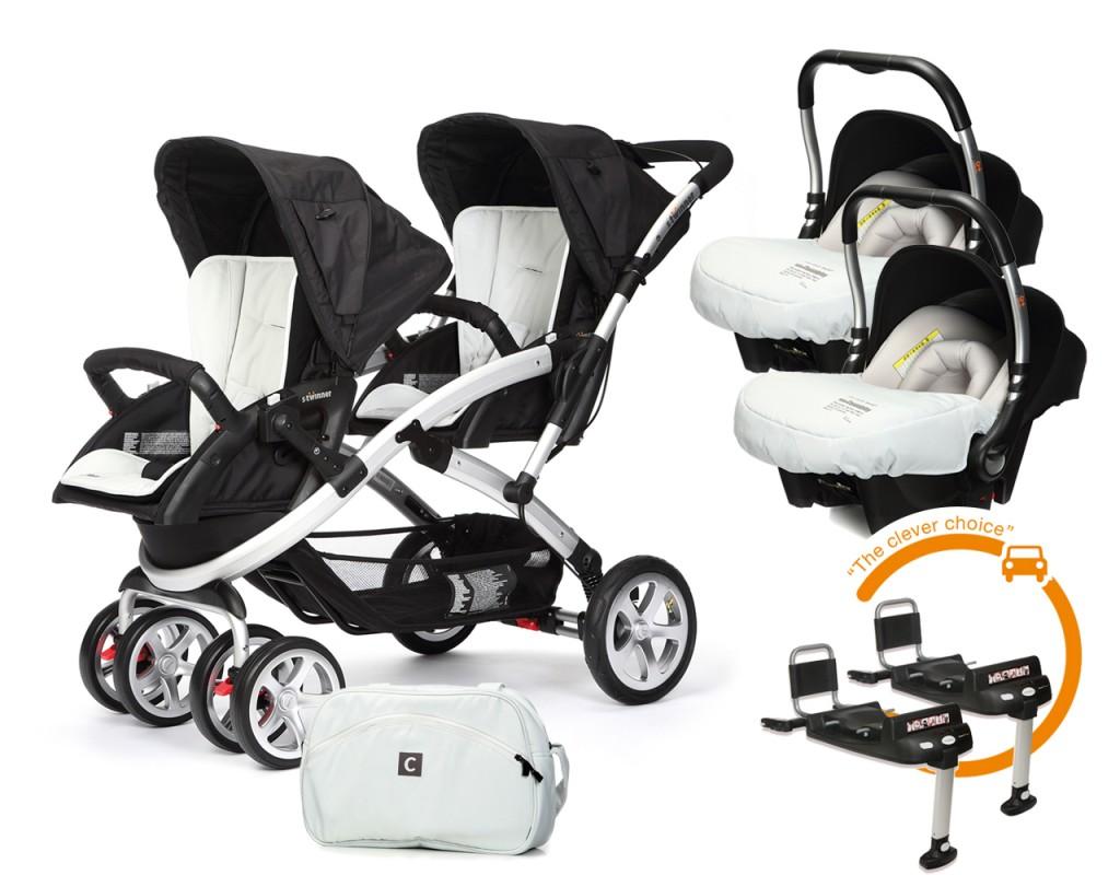 CASUALPLAY - Set kočík pre dvojičky Stwinner, 2 x autosedačka Baby 0plus, 2x BaseFix Baby 0 a Bag 2017 - ICE.
