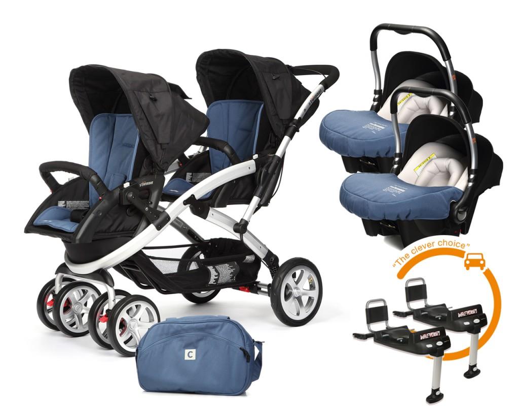 CASUALPLAY - Set kočík pre dvojičky Stwinner, 2 x autosedačka Baby 0plus, 2x BaseFix Baby 0 a Bag 2017 - Lapis Lazuli