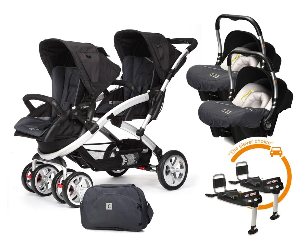 CASUALPLAY - Set kočík pre dvojičky Stwinner, 2 x autosedačka Baby 0plus, 2x BaseFix Baby 0 a Bag 2017 - Metal