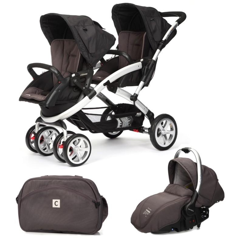 CASUALPLAY - Set kočík pre dvojičky Stwinner, 2 x autosedačka Sono a Bag 2015 - LAVA ROCK