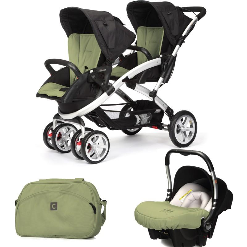 CASUALPLAY - Set kočík pre dvojičky Stwinner, 2 x autosedačka Baby 0plus a Bag 2015 - GRAPE