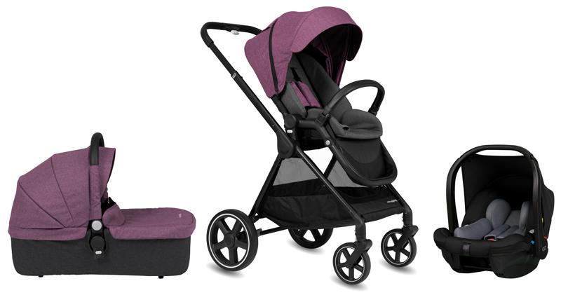 CASUALPLAY - Set športový kočík Optim, autosedačka Verai 0+ a vanička - purple