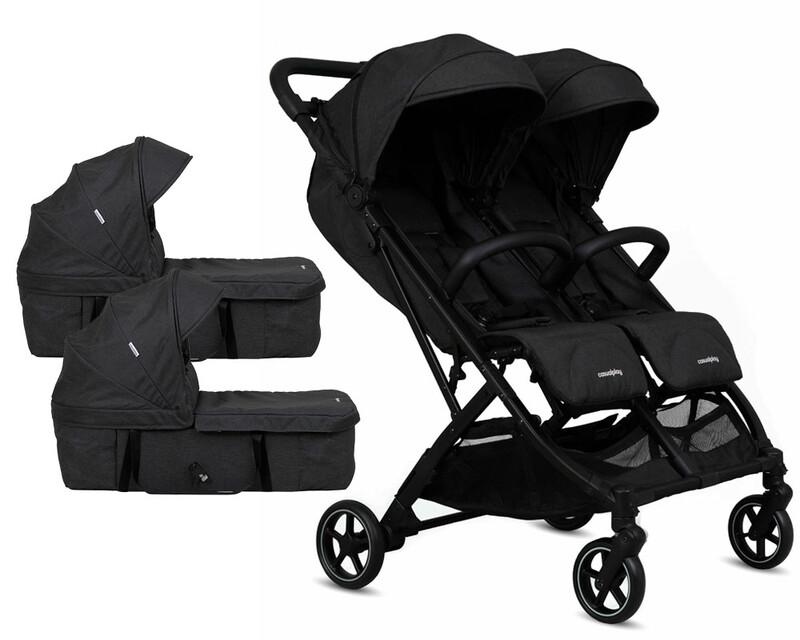 CASUALPLAY - Športový kočík pre dvojičky Tour Twin, 2x vanička - black
