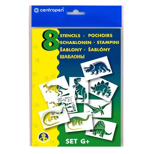 CENTROPEN - Šablóny papierové 9996/G Dinosaury, sada 8 ks
