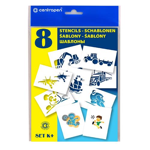 CENTROPEN - Šablóny papierové 9996/K Motívy pre chlapcov, sada 8 ks
