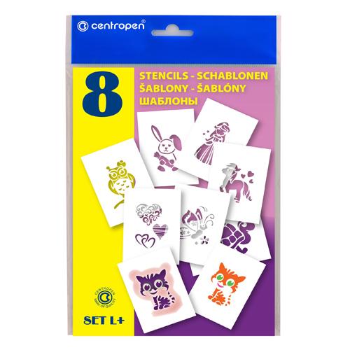 CENTROPEN - Šablóny papierové 9996/L Motívy pre dievčatá, sada 8 ks