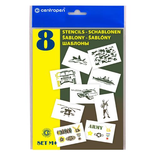 CENTROPEN - Šablóny papierové 9996/M Motívy vojenské, sada 8 ks