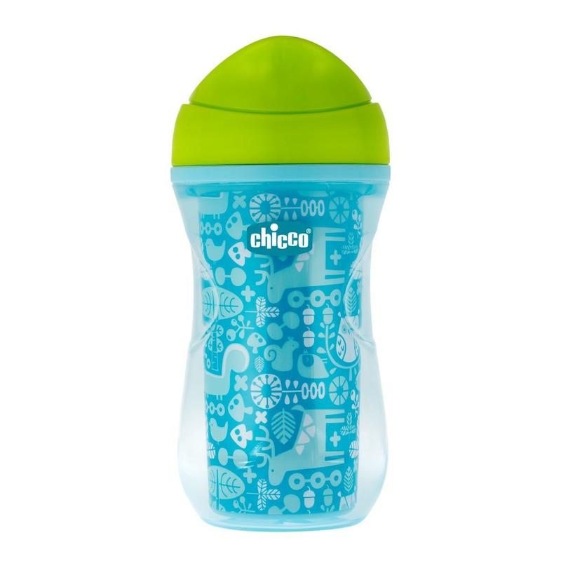 CHICCO - Hrnček Chicco Aktívny termo s tvrdým náustkom 266 ml, modrý, potlač 12m+