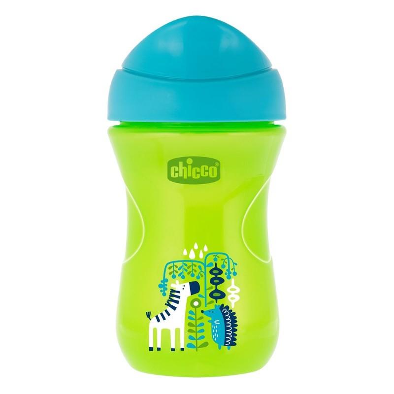 CHICCO - Hrnček Chicco Jednoduchý s tvrdým náustkom 266 ml, zelený, zebra 12m+