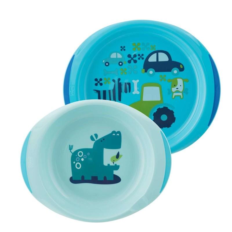 CHICCO - Jedálenský set tanier a miska 12m+, modrý