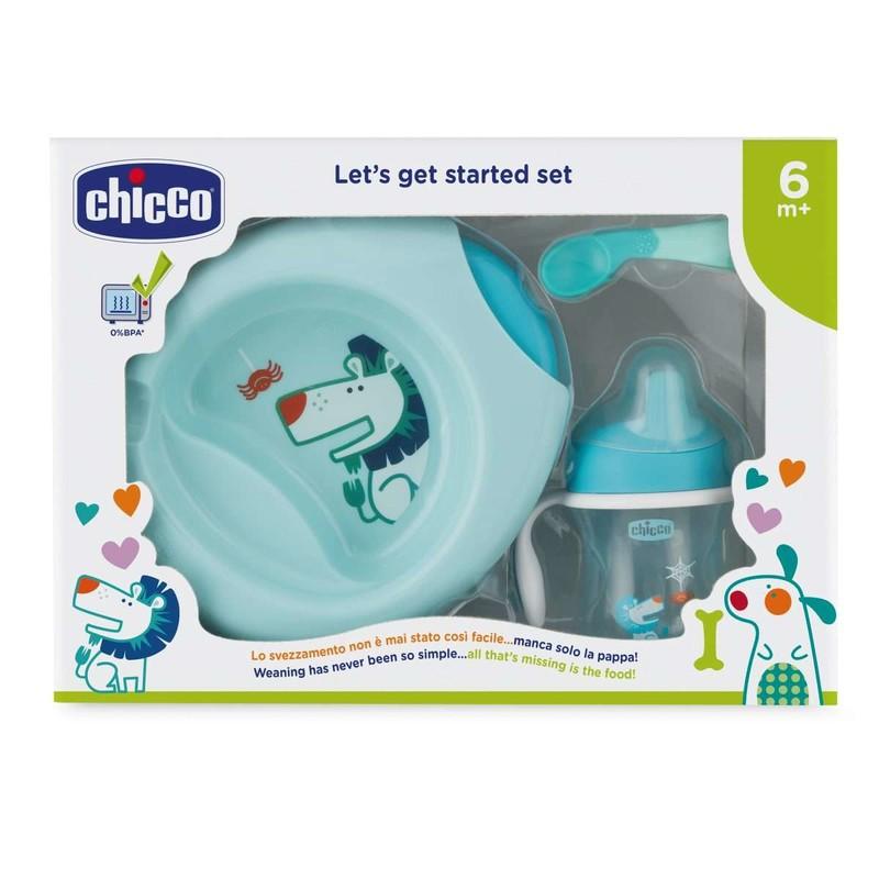 CHICCO - Jedálenský set - tanier, lyžička, pohárik, 6m+ - modrý