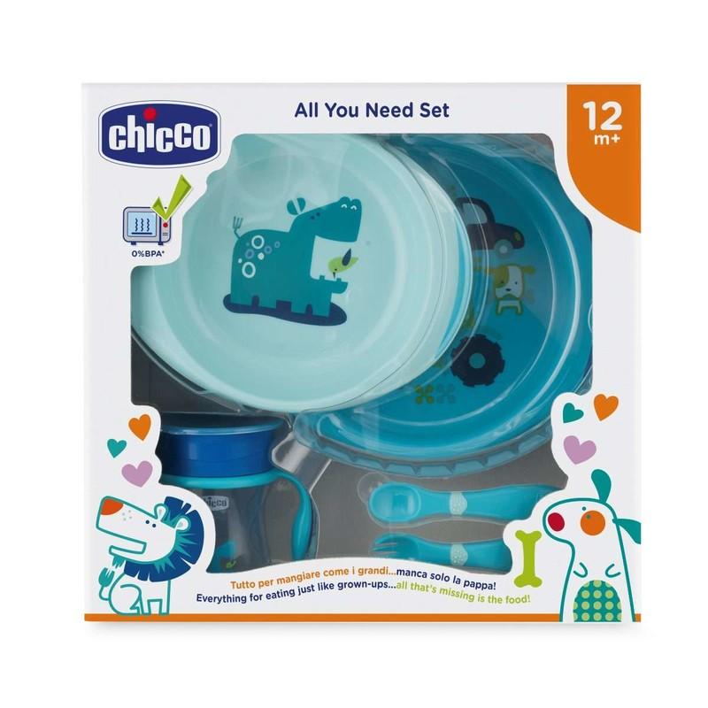 CHICCO - Jedálenský set - taniere, príbor, pohárik, 12m+ - modrý