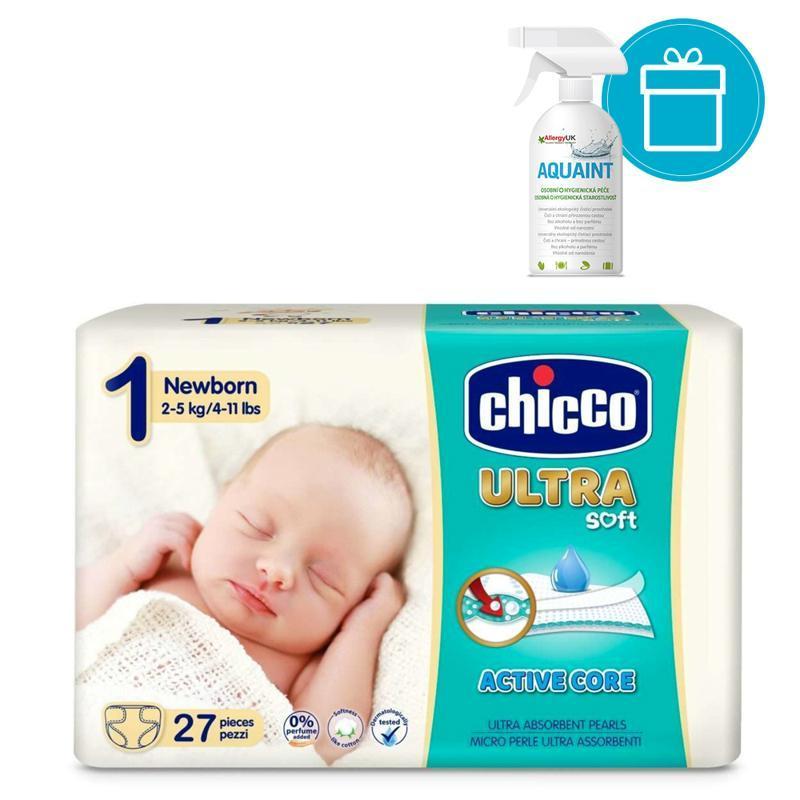 CHICCO - Plienky jednorázové Ultra Newborn 2-5kg, 27 ks + AQUAINT 500 ml