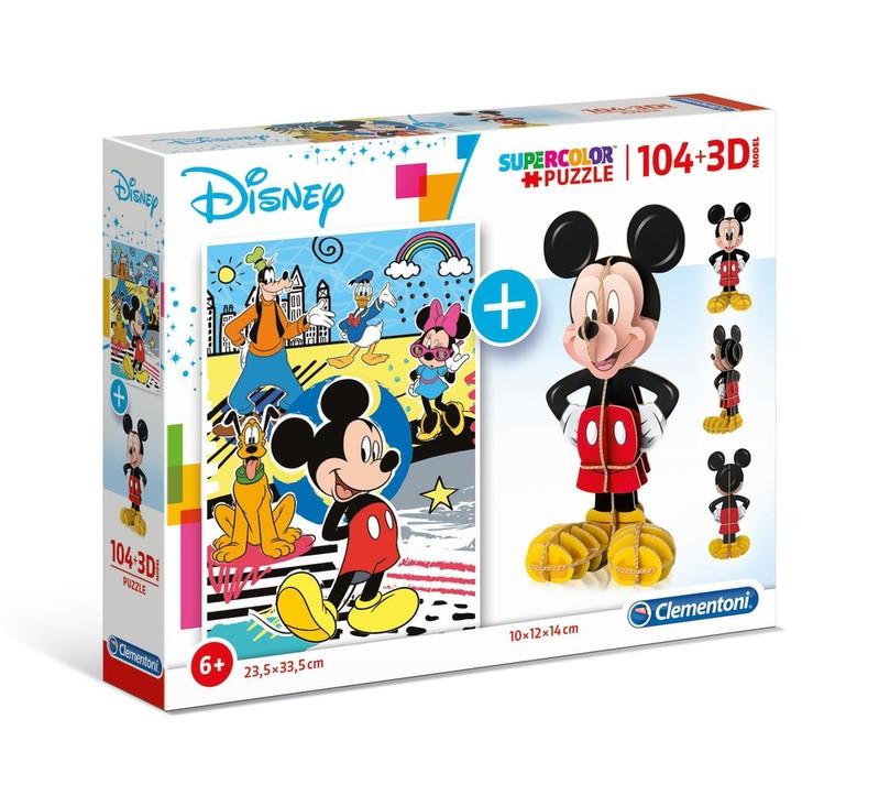 CLEMENTONI - puzzle Disney Mickey 104+3D