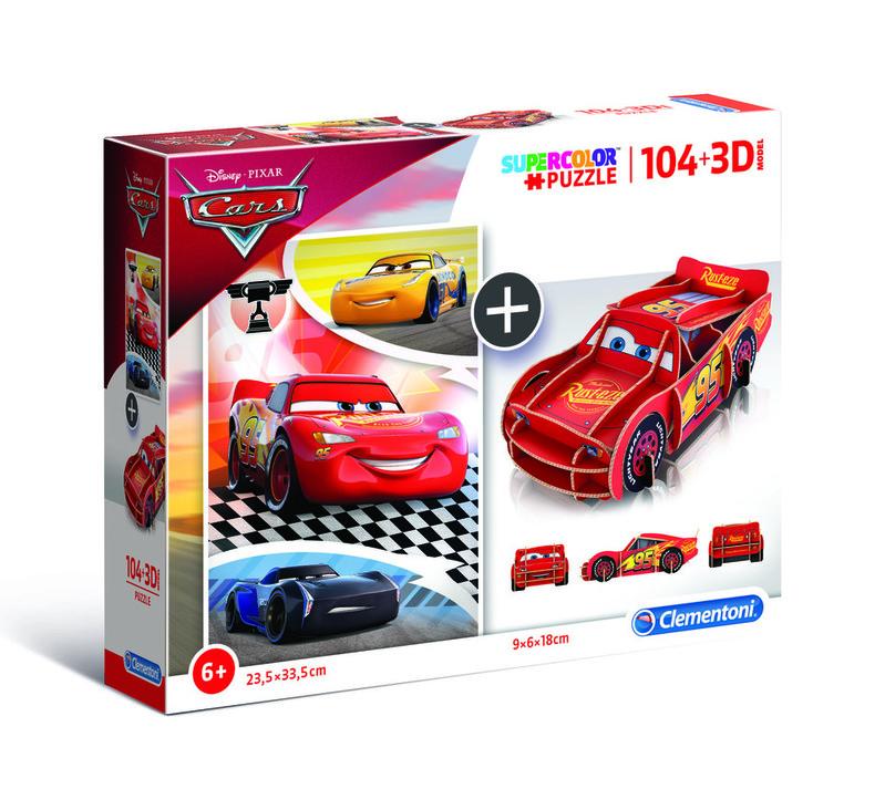 CLEMENTONI - Puzzle model 104+3D Cars