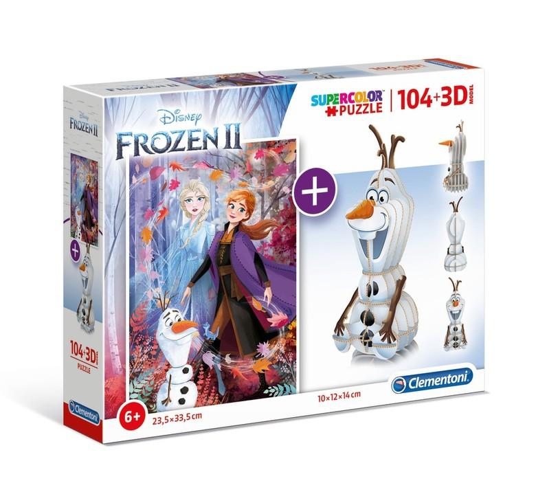 CLEMENTONI - Puzzle model 104+3D Frozen2