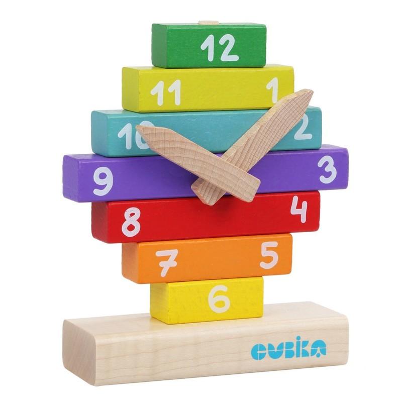 CUBIKA - 14354 Hodiny s magnetickými ručičkami - drevená skladačka 10 dielov