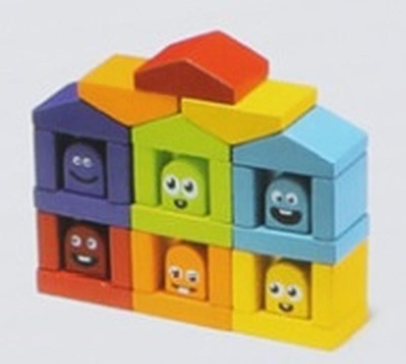 CUBIKA - 14866 Farebné domčeky - drevená stavebnica 30 dielov