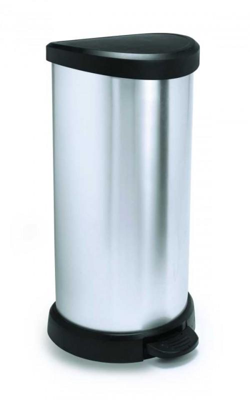 CURVER - Odpadkový kôš Decobin s pedálom 40 l, strieborný
