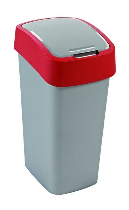 CURVER - Odpadkový kôš Flipbin 50l, strieborno-červená