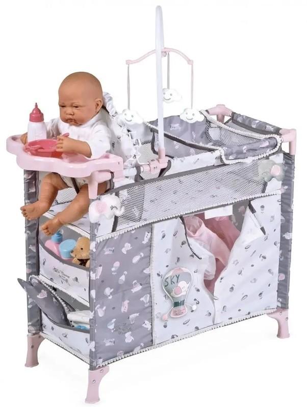 DECUEVAS TOYS - 53035 Skladacia postieľka pre bábiky s 5 funkčnými doplnkami SKY 2020