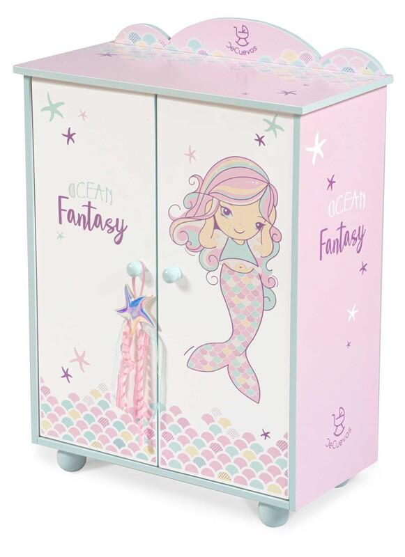 DECUEVAS TOYS - 55241 Drevená šatníková skriňa pre bábiky s doplnkami Ocean Fantasy 2021