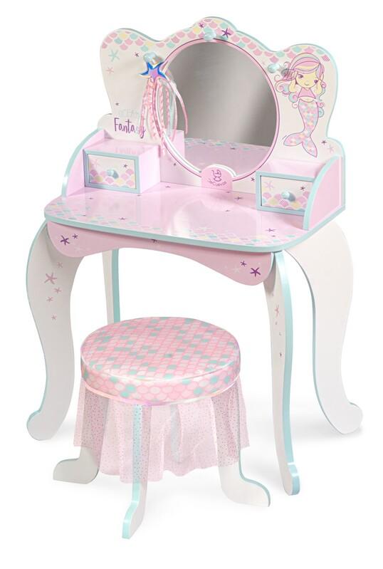 DECUEVAS TOYS - 55541 Drevený toaletný stolík so zrkadlom, stoličkou a doplnkami Ocean Fantasy