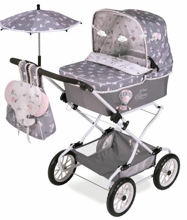 DECUEVAS TOYS - 82035 Skladací kočík pre bábiky REBORN so slnečníkom a doplnkami SKY 2020-90 cm