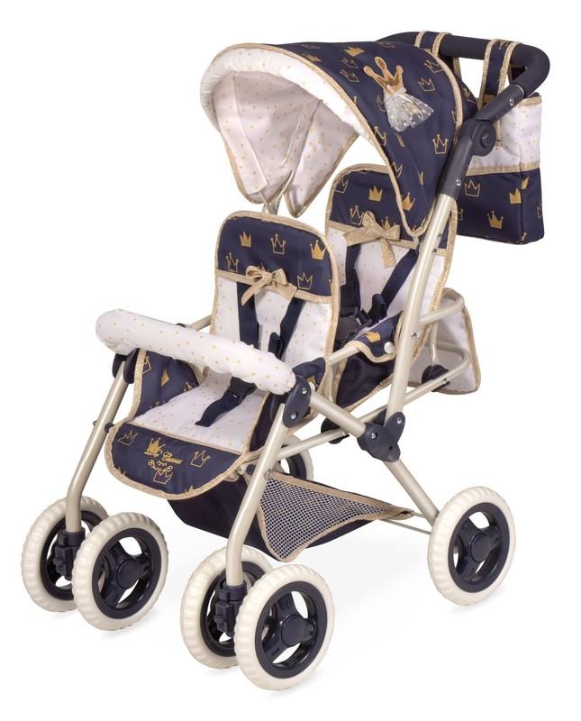 DECUEVAS TOYS - 90332 Skladací kočík pre dvojčatá bábiky s taškou Classic Gold 2020 - 72 cm