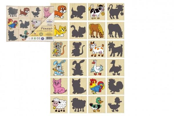 DETOA - Pexeso zvieratká a ich tiene drevo spoločenská hra 12ks v krabičke 16,5x12,5x1,5cm