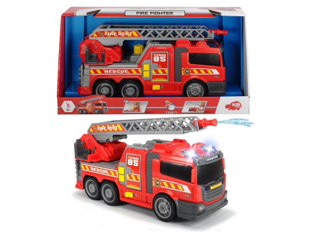 DICKIE - Action Series hasičské auto, 36 cm, svetlo a zvuk, ručná pumpa - striekačka