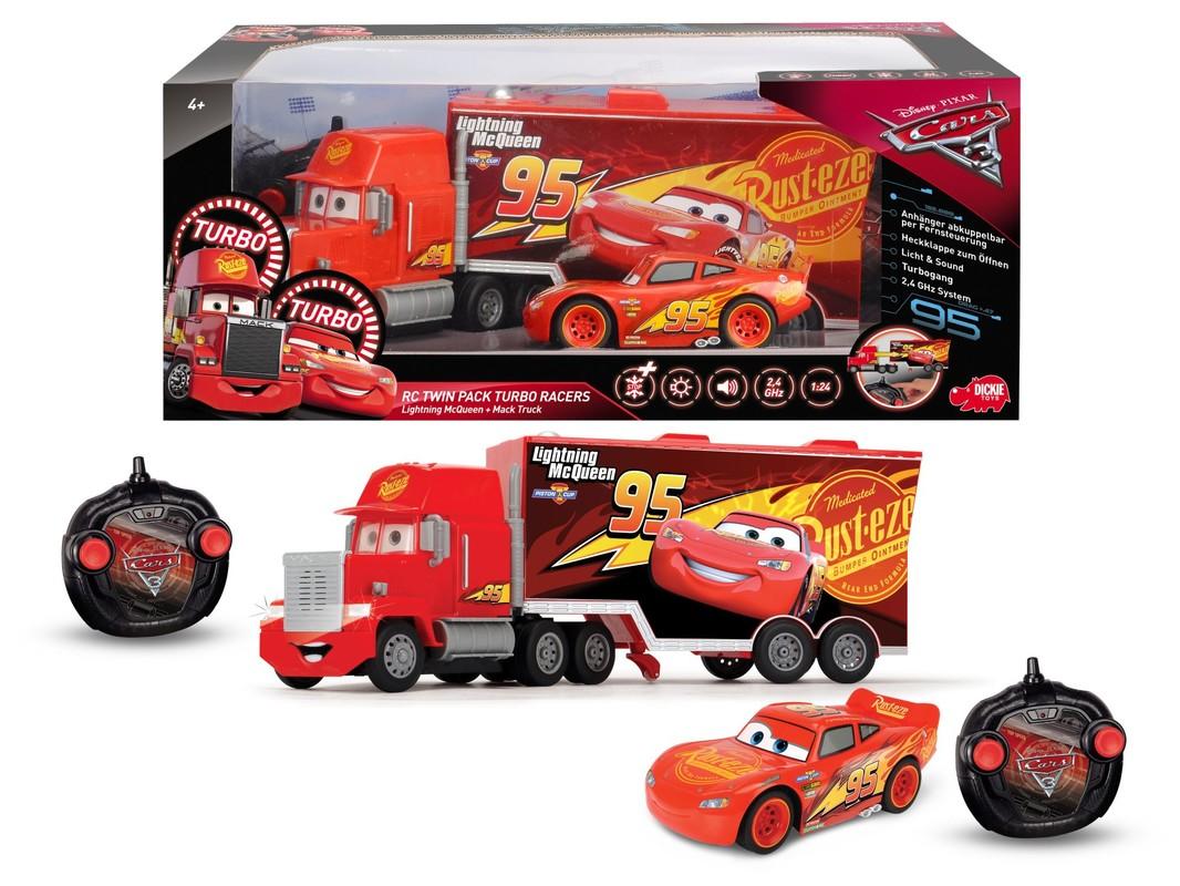 DICKIE - Cars 3 Turbo Mack Truck 46 cm, 3kan + Blesk McQueen 1:24, 2 kanály