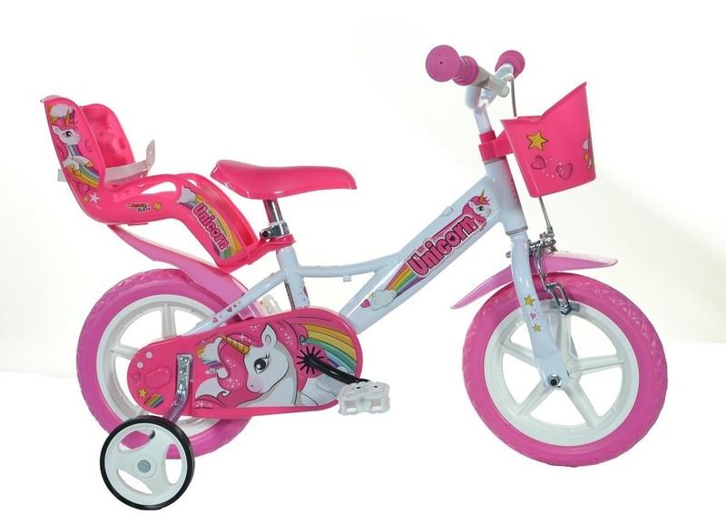 """DINO BIKES - Detský bicykel - 12""""124RLUN so sedačkou pre bábiku a košíkom s Unicorn"""