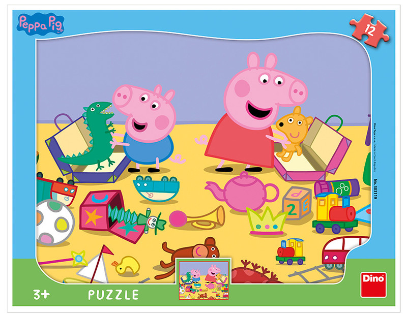 DINO - Peppa Pig Si Hrá 12 dielikov Doskové Tvary Puzzle