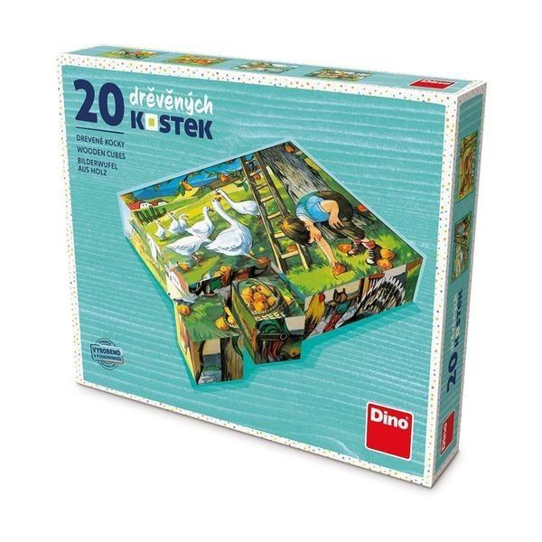 DINOTOYS - Drevené kocky Kubus Na farme 20 ks