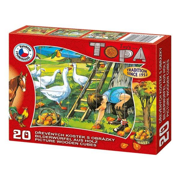 DINOTOYS - Drevené kocky Na farme 20 ks