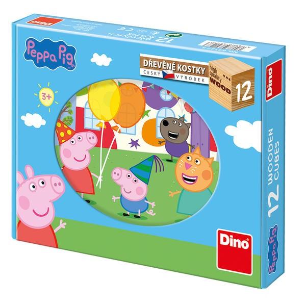 DINOTOYS - Drevené kocky Peppa Pig 12 ks