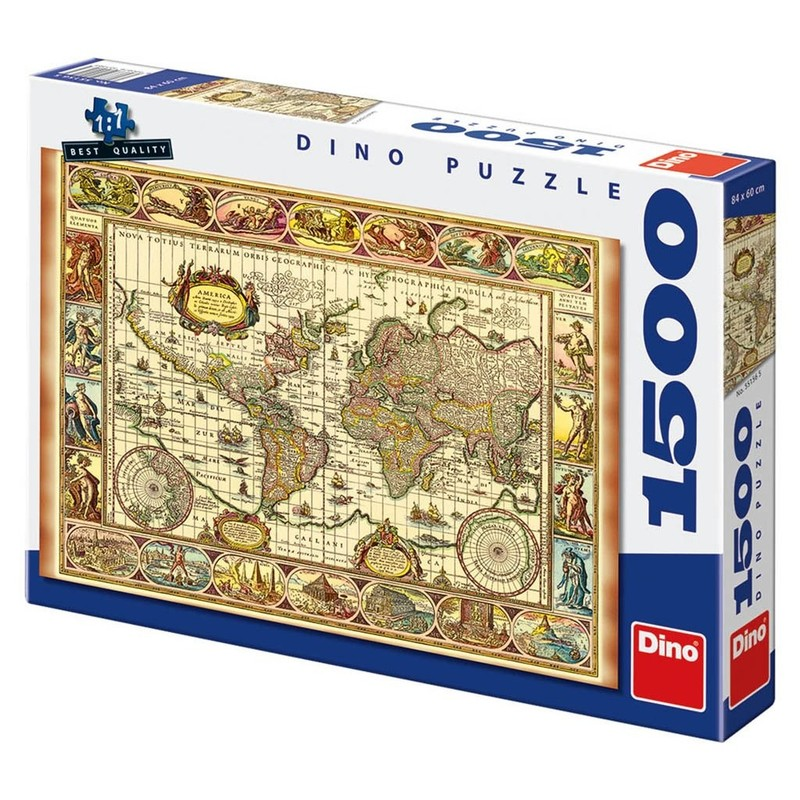 DINOTOYS - Puzzle Dino Mapa a 7 Divov Sveta 1500