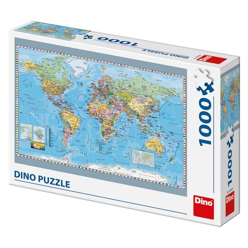 DINOTOYS - Puzzle Dino Politická Mapa Sveta 1000