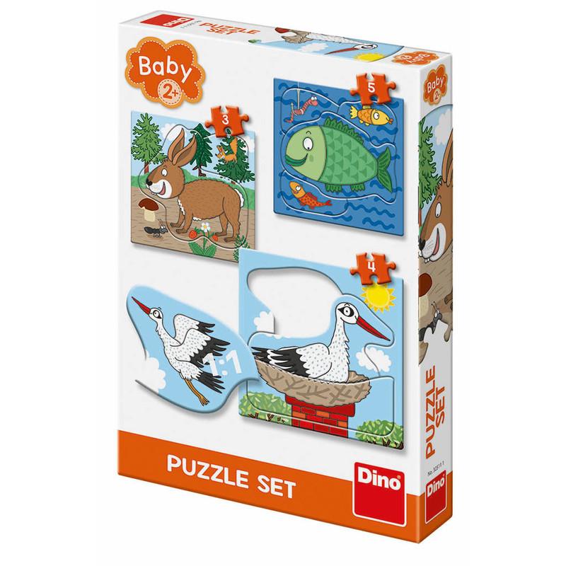 DINOTOYS - ZVIERATKÁ: kde žijú 3-5 baby Puzzle set