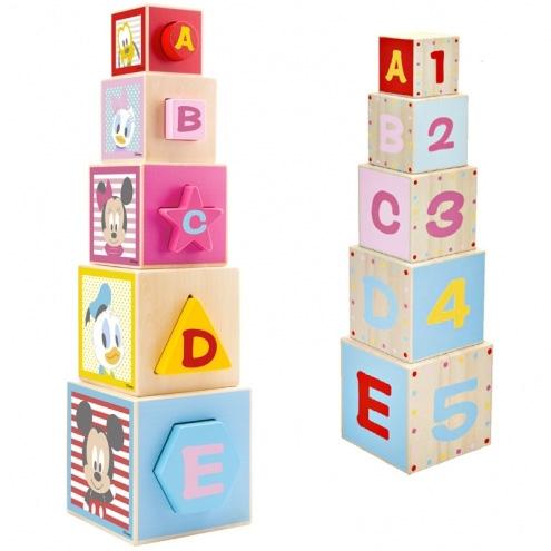 DISNEY - Drevená edukačná veža z kociek Disney Mickey, 12 x 46 x 12 cm