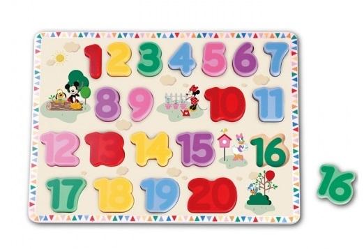 DISNEY - Edukačné drevené puzzle Disney - Mickey Mouse