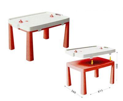 DOLONI - 2 v 1 detský stôl + hra stolný hokej červený
