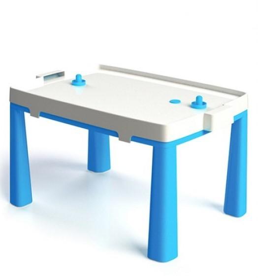 DOLONI - 2 v 1 detský stôl + hra stolný hokej modrý