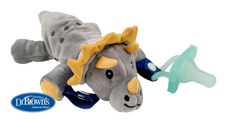 DR.BROWNS - Plyšová hračka s úchytmi na cumlík - dino (AC122)