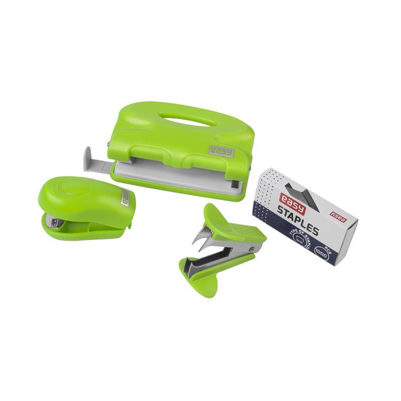 EASY - Kancelársky set - dierovačka, sešívačka, náplne, rozošívačka zelená