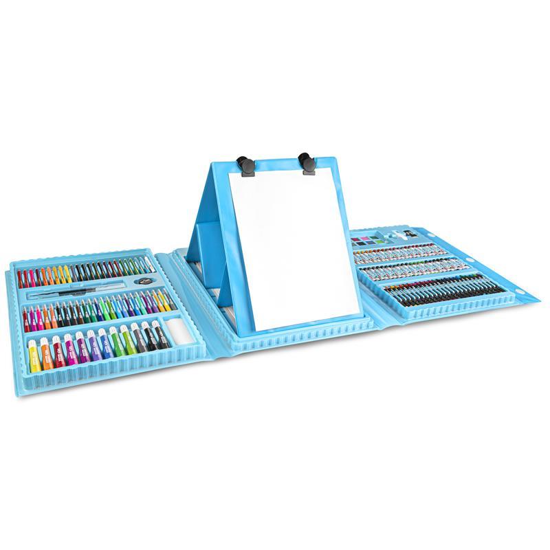 EASY - Kreatívna výtvarná sada II 208 ks, vrátane plastového stojanu, modrá