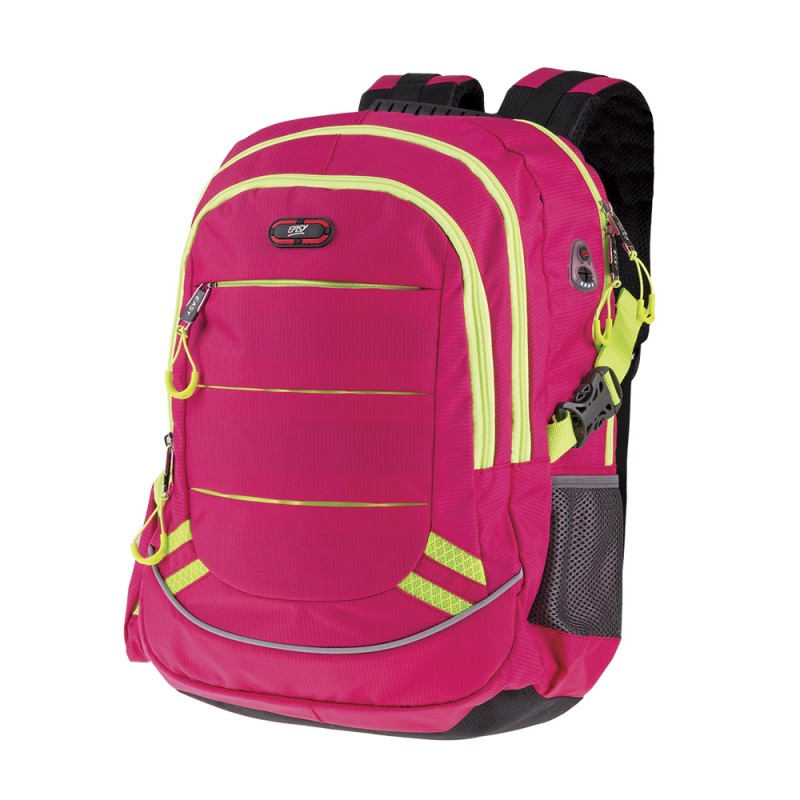 EASY - Školský batoh - športový trojkomorový ružový, žlté zipsy, profilovaný chrbát, 26 l