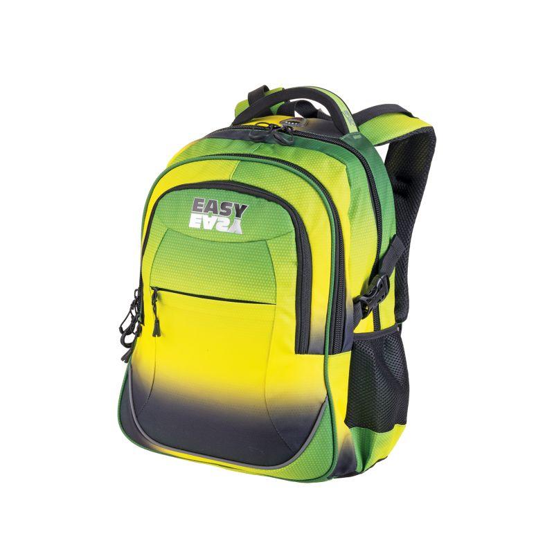 Obrázok EASY - Školský ruksak trojkomorový dúhový, zeleno - žltý, profilovaná zadná strana, 26 l