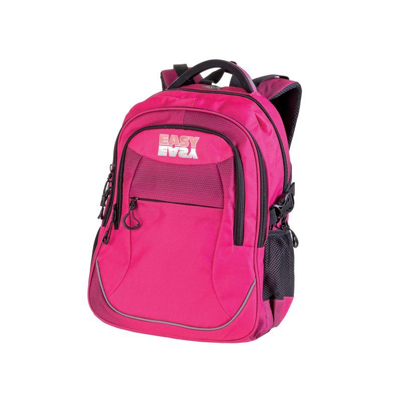 EASY - Školský ruksak trojkomorový ružový, profilovaná zadná strana, 26 l